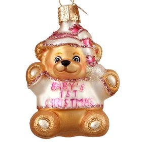Personalized Baby's First Christmas Teddy Bear (Girl) Christmas Ornament