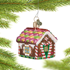 Personalized Gingerbread House Covered in Candy Christmas Ornament