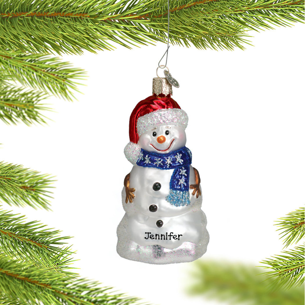 Image of Glass Happy Personalized Snowman Christmas Ornament