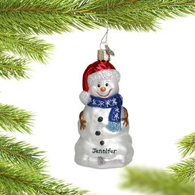 Personalized Happy Snowman Christmas Ornament