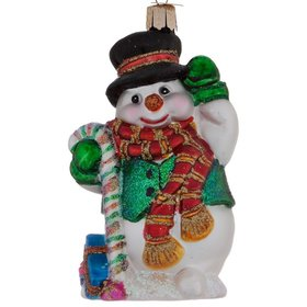 Personalized Candy Cane Snowman Christmas Ornament