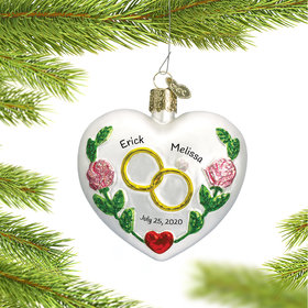Personalized Wedding Heart Christmas Ornament