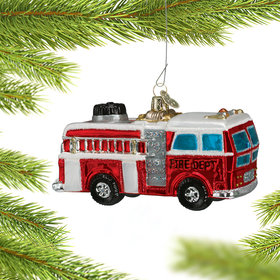 Personalized Glass Fire Truck Christmas Ornament