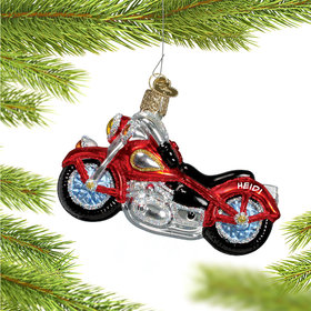 Personalized Red Motorcycle Christmas Ornament