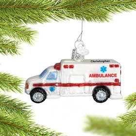 Personalized Hospital Ambulance or Emergency Vehicle Christmas Ornament