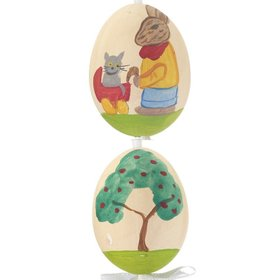 Bunny Pushing Cat Orange Easter Egg Christmas Ornament