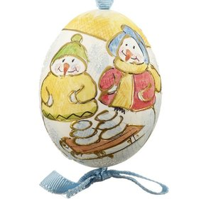 Snowman Couple with Snowballs on a Sled Austrian Egg Christmas Ornament