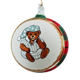 Personalized Plaid Antique Teddy Bear (Pajamas) Christmas Ornament