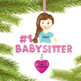 Personalized #1 Babysitter Pink Heart Christmas Ornament