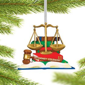 Personalized Lawyer Books with Scales and Gavel Christmas Ornament