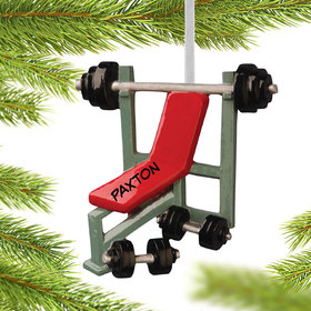 Personalized Workout Bench Press Christmas Ornament