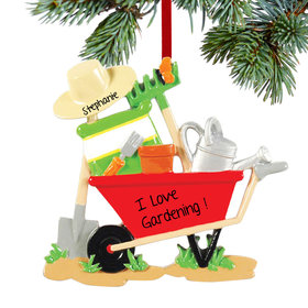 Personalized Gardener Wheelbarrow Christmas Ornament