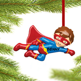 Personalized Flying Super Hero Christmas Ornament