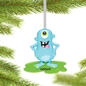 Personalized Goofy Monster Character (Blue) Christmas Ornament