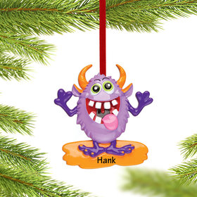 Personalized Goofy Monster Character (Purple) Christmas Ornament