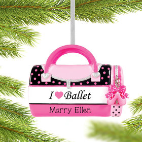 Personalized I Love Ballet Bag Christmas Ornament