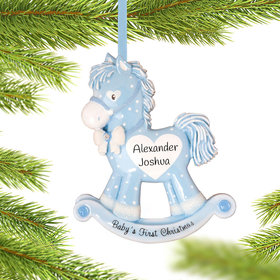 Personalized Blue Rocking Horse Baby's 1st Christmas Christmas Ornament