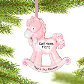Personalized Pink Rocking Horse Baby's 1st Christmas Christmas Ornament
