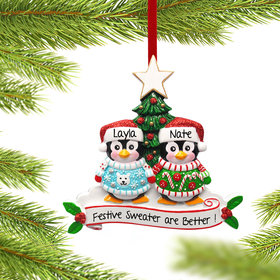 Personalized Penguin Christmas Sweater Couple Christmas Ornament