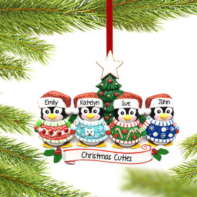Personalized Penguin Christmas Sweater Family of 4 Christmas Ornament