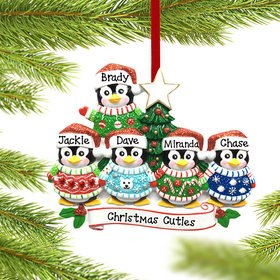 Personalized Penguin Christmas Sweater Family of 5 Christmas Ornament