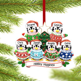 Personalized Penguin Christmas Sweater Family of 6 Christmas Ornament