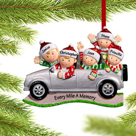 Personalized SUV Family of 5 Christmas Ornament