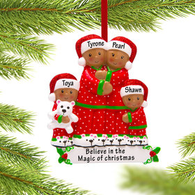 Personalized African American Pajama Family of 4 Christmas Ornament