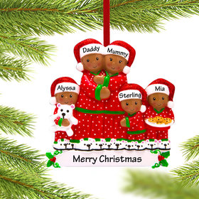 Personalized African American Pajama Family of 5 Christmas Ornament