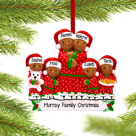 Personalized African American Pajama Family of 6 Christmas Ornament