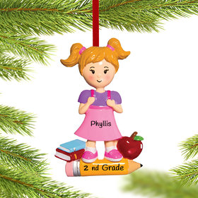 Personalized First Day of School (Girl) Christmas Ornament