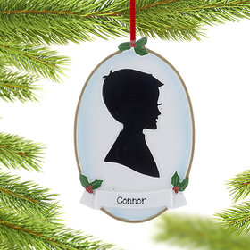 Personalized Silhouette Boy Christmas Ornament