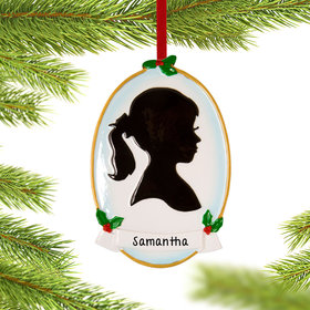 Personalized Silhouette Girl Christmas Ornament
