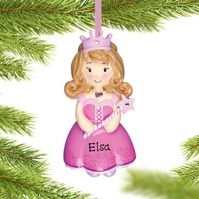 Personalized Princess Girl (Pink) Christmas Ornament