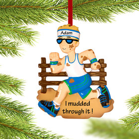 Personalized Tough Mudder Male Christmas Ornament