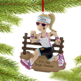 Personalized Tough Mudder Female Christmas Ornament