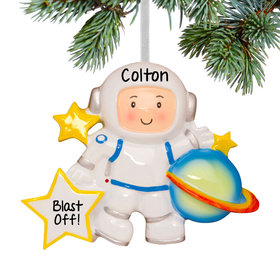 Personalized Space Astronaut with Planet Christmas Ornament