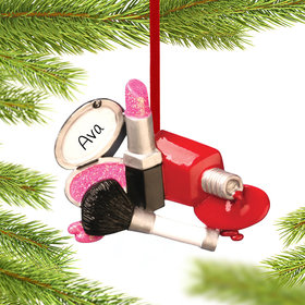 Personalized I Love Makeup Christmas Ornament