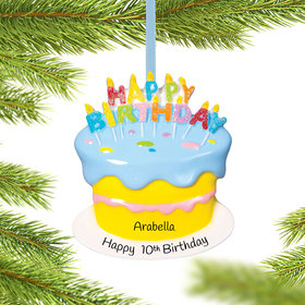 Personalized Birthday Cake Christmas Ornament