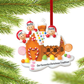 Personalized Gingerbread House Family of 3 Christmas Ornament