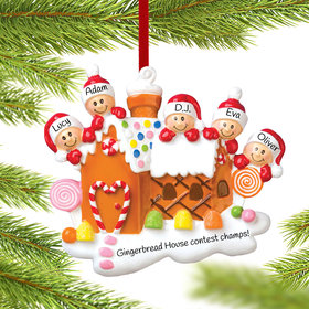 Personalized Gingerbread House Family of 5 Christmas Ornament