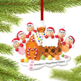 Personalized Gingerbread House Family of 6 Christmas Ornament