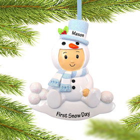 Personalized Baby Boy in Snowman Outfit Christmas Ornament