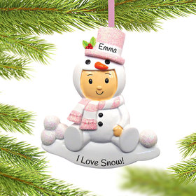 Personalized Baby Girl in Snowman Outfit Christmas Ornament
