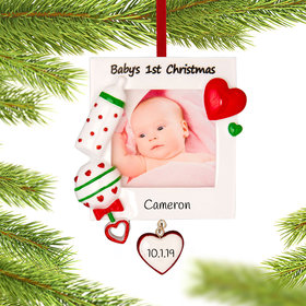 Personalized Baby's 1st Christmas Picture Frame Ornament Christmas Ornament