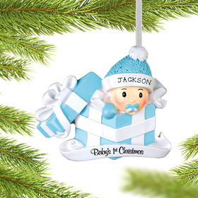 Personalized Baby Boy First Christmas Present Christmas Ornament