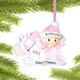 Personalized Baby Girl First Christmas Present Christmas Ornament