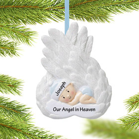 Personalized Baby Boy Memorial on Angel Wings Christmas Ornament