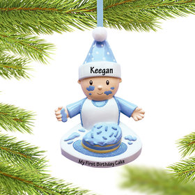 Personalized Baby Boy with Birthday Cake Christmas Ornament
