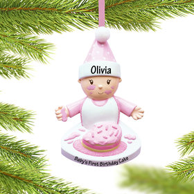 Personalized Baby Girl with Birthday Cake Christmas Ornament